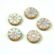 Cseh table cut gyöngy - hosszában fúrt virág - Alabaster Pink Picasso - 02010-86800-54321 - 12mm