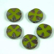 Cseh table cut gyöngy - hosszában fúrt lóhere mintás korong - Green Picasso - 53420-86805 - 14mm