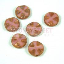Cseh table cut gyöngy - hosszában fúrt lóhere mintás korong - Rose Picasso - 74020-86805 - 14mm