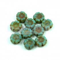 Cseh table cut gyöngy - hosszában fúrt virág - Turquoise Blue Picasso - 63030-86805 - 7mm