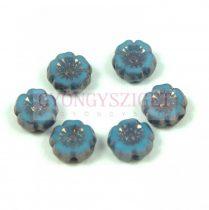 Cseh table cut gyöngy - hosszában fúrt virág - Light Sapphire Picasso - 33030-15496 - 7mm