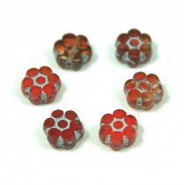 Cseh table cut gyöngy - hosszában fúrt virág - Red Picasso - 93200-86805 - 8mm