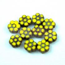 Cseh table cut gyöngy - hosszában fúrt virág - Yellow Picasso - 83120-86800- 8mm