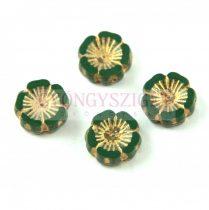 Cseh table cut gyöngy - hosszában fúrt virág - Dark Green Picasso - 53420-86800-54302 - 14mm