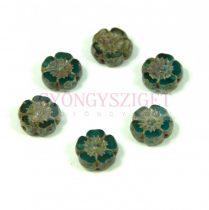 Cseh table cut gyöngy - hosszában fúrt virág - Transparent Aqua Picasso - 60050-86800- 9mm