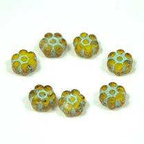 Cseh table cut gyöngy - hosszában fúrt virág - Yellow Picasso - 83130-mix - 8mm
