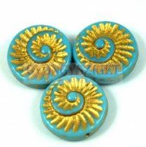 Cseh préselt egyedi formák - türkiz kék arany lüszter - fosszília - 63020-54302 - 16mm