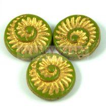 Cseh préselt egyedi formák - zöld arany lüszter - fosszília - 53420-54302 - 16mm