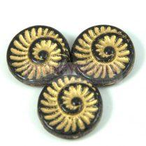 Cseh préselt egyedi formák - jet arany lüszter - fosszília - 23980-54302 - 16mm