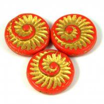Cseh préselt egyedi formák - piros arany lüszter - fosszília - 93180-54302 - 16mm