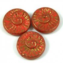 Cseh préselt egyedi formák - piros arany lüszter - fosszília - 93180-15496 - 16mm