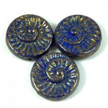 Cseh préselt egyedi formák - zafír arany lüszter - fosszília - 33050-15496 - 16mm