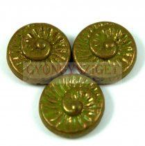 Cseh préselt egyedi formák - zöld arany lüszter - fosszília - 53420-15496 - 16mm
