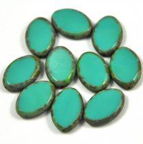 Cseh table cut gyöngy - hosszában fúrt ovális - zöld picasso - 63130-86800 - 20x14mm