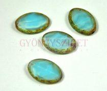 Cseh table cut gyöngy - hosszában fúrt ovális - opál kék - 64000-86800 - 20x14mm