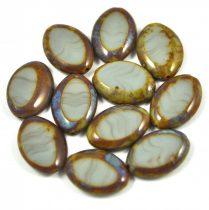 Cseh table cut gyöngy - hosszában fúrt ovális - multicolor - 43020-86800 - 20x14mm
