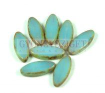 Cseh table cut gyöngy - hosszában fúrt ovális - air blue opal picasso - 61000-86800 - 20x9mm