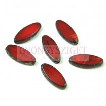 Cseh table cut gyöngy - hosszában fúrt ovális - Opal Siam Picasso - 91250-86800 - 20x9mm
