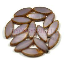 Cseh table cut gyöngy - hosszában fúrt ovális - opál világos lila picasso - 21360-86800 - 18x7mm