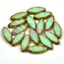 Cseh table cut gyöngy - hosszában fúrt ovális - opál világos menta picasso - 56207-86800 - 18x7mm