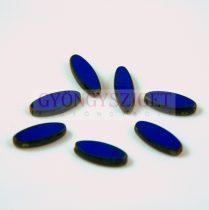 Cseh table cut gyöngy - hosszában fúrt ovális - Dark Sapphire picasso - 33030-86800 - 16x6mm