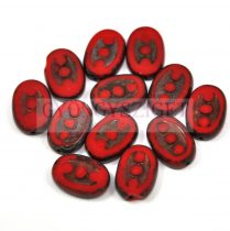 Cseh table cut gyöngy - hosszában fúrt ovális - 3 pötty - Red Picasso - 93200-86800 - 14x8mm
