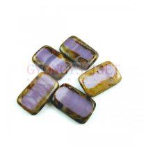 Cseh table cut gyöngy - hosszában fúrt tégla - Lavender Blend Picasso - 18x12mm