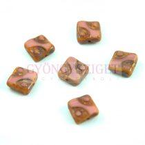 Cseh table cut gyöngy - hosszában fúrt pöttyös négyzet - 74020-86805 - Pink Picasso - 10x10mm
