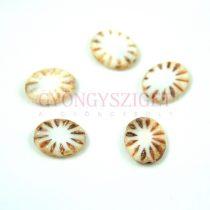 Cseh table cut gyöngy - hosszában fúrt ovális - sugár - Alabaster Picasso - 14x12mm - 02010-86800