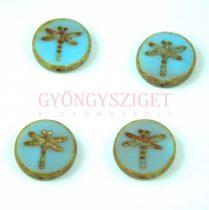 Cseh table cut gyöngy - hosszában fúrt kerek szitakötő mintás - Blue Blend Gold Picasso - 17 mm - 67414-86800-54302