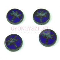 Cseh table cut gyöngy - hosszában fúrt kerek szitakötő mintás - Sapphire Blue Picasso - 17 mm - 30090-86800