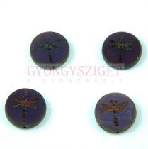 Cseh table cut gyöngy - hosszában fúrt kerek szitakötő mintás - Tanzanite Picasso - 17 mm - 21360-86800