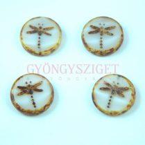 Cseh table cut gyöngy - hosszában fúrt kerek szitakötő mintás - Pearl White Picasso - 17 mm - 06007-86805