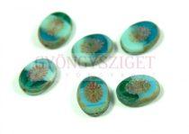 Cseh table cut gyöngy - hosszában fúrt ovális - napsugár - Turquoise Blend Picasso - 56660-86800 - 14x10mm
