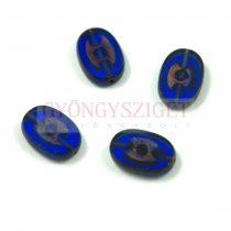 Cseh table cut gyöngy - hosszában fúrt ovális - 3 pötty - Sapphire Picasso - 30070-86800 - 14x8mm