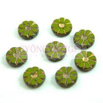 Cseh table cut gyöngy - hosszában fúrt virág - Green Gold Picasso - 53420-86800-54302 - 12mm