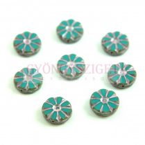 Cseh table cut gyöngy - hosszában fúrt virág - Turquoise Silver Picasso - 63140-86800-54321 - 12mm