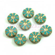 Cseh table cut gyöngy - hosszában fúrt virág - Turquoise Gold Picasso - 63140-86800-54302 - 12mm