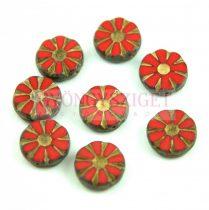 Cseh table cut gyöngy - hosszában fúrt virág - Red Gold Picasso - 93200-86800-54302 - 12mm