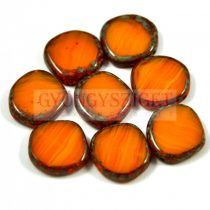 Cseh table cut gyöngy - hosszában fúrt - 81260-86800 - Orange Blend Picasso - 15mm