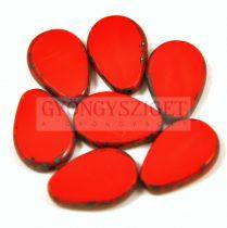 Cseh table cut gyöngy - hosszában fúrt csepp lakú - Red Picasso - 93200-86800 - 18x12mm