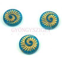Cseh préselt egyedi formák - Matt Transparent Turquoise Blue Gold - fosszília - 18mm (60030-84100-54302)