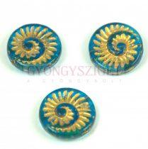 Cseh préselt egyedi formák - Transparent Turquoise Blue Gold - fosszília - 18mm (60030-54302)