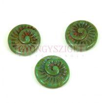 Cseh préselt egyedi formák - Turquoise Green Travertin - fosszília - 18mm (63130-86800)