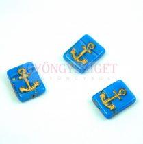 Cseh préselt egyedi formák - Light Sapphire Gold - Anchor - 12x15x4mm (33010-54302)