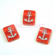 Cseh préselt egyedi formák - Red Silver- Anchor - 12x15x4mm (63030-54301)
