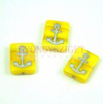 Cseh préselt egyedi formák - Yellow Silver - Anchor - 12x15x4mm (83120-54301)