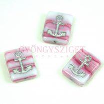 Cseh préselt egyedi formák - Pink Blend Silver - Anchor - 12x15x4mm (07724-54301)