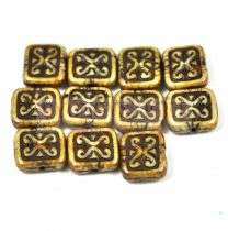 Cseh table cut gyöngy - hosszában fúrt inka négyzet - Latte Bronze - 11x12mm