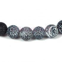 Agate - round bead - matte jet- 10mm